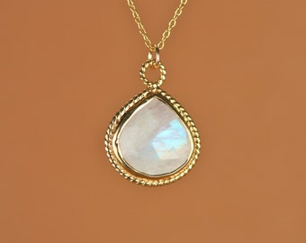 Moonstone necklace - gold moonstone - june birthstone - a gold bezel set rainbow moonstone on a 14k gold vermeil chain