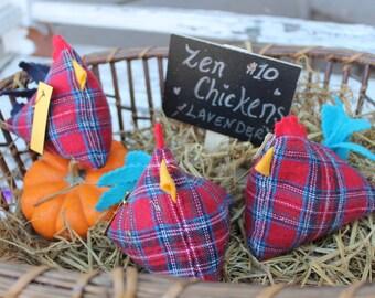 Plaid Zen Chicken- Happy Chickens - Chicken Gift