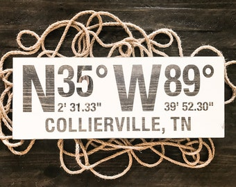 Custom coordinates wood sign, address sign, latitude longitude wood sign, gps coordinates wood sign, location sign