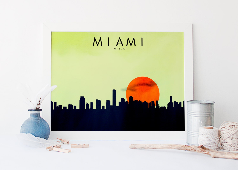Miami Minimalist Print US City Skylines Minimalist Style