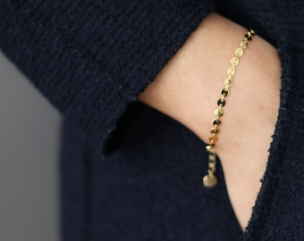 Gold Layering Bracelet - Gold Coin Bracelet - Dainty Gold Bracelet - Everyday Jewelry - Minimalist Jewelry - Gift for Her - Disc Bracelet