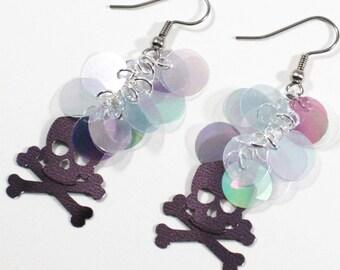 Halloween Earrings Charcoal Gray Skull Earrings Blue Iridescent Circles Dangle Plastic Sequins