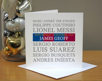 Personalised Football Club Barcelona Fan Birthday Card - Kids Birthday Card - For Him/Her - Boys/Girls - Barca - FCB - Camp Nou - Soccer
