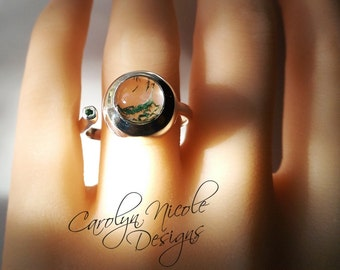 Bezel Ring (Moss Agate and Tsavorite Garnet)