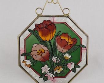 Vintage Joan Baker Design Tulips Flowers 6.5 X 6.5 Stained Glass Panel Suncatcher Hanging Art