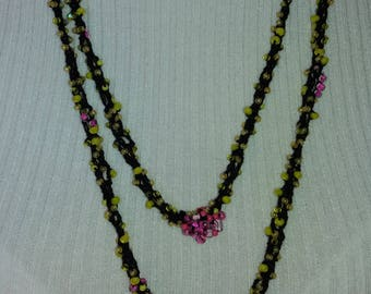 Crochet beaded necklace, black yellow and lilac, hippie, boho, bohemian, big necklace,