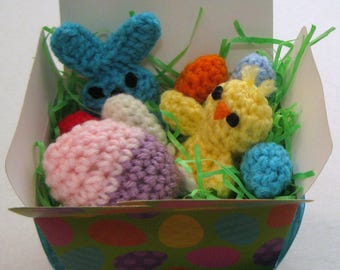 Small Easter Basket of Crocheted Peeps Bunny Chick and Eggs