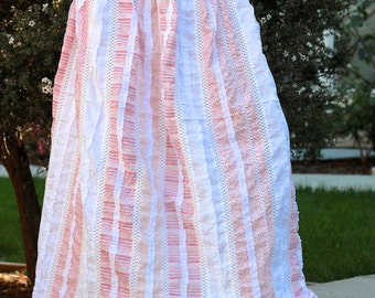 Maxi Long Amazing Cotton Skirt with Lace