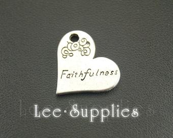 10pcs Antique Silver Alloy Engraved Faithfulness Heart Charms Pendant A692