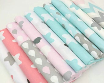Set of 10 printed fabric coupons child tone pink and blue 40cmx50cm