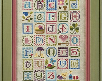 Lizzie Kate Spring Alphabet 146 Counted Cross Stitch Pattern Chart and Embellishments