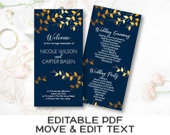 Navy and gold wedding program template Royal blue wedding ceremony printable program Navy blue program card Printable wedding decor DIGITAL
