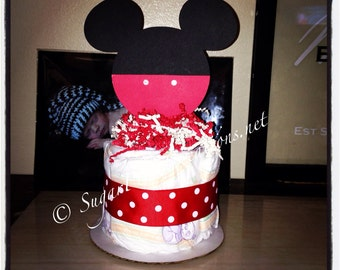 Mickey Mouse Diaper Cake Mini/mickey mouse baby shower/disney babies Baby shower or birthday decorations/minne mouse diapercake