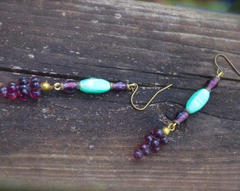 Purple Grape Cluster Earrings Vintage Glass and Brass Charm Earrings Wine Lovers Gift