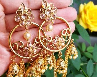 Gold Chandelier Earrings - Polki Earrings, Gold Drop Down Earrings, Indian Jewelry, Indian Jewelry Set, Indian Nose Ring, Gold Earrings