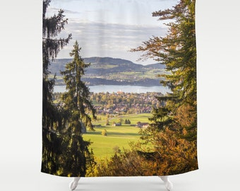 Trees Shower Curtain Lake Shower Curtain Photo Curtain Nature Curtain Alpsee Lake Curtain Trees Curtain Hohenschwangau Castle Curtain