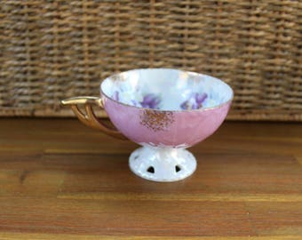 Kelvin Fine China Pink Iridescent Floral Cut Out Detail Teacup