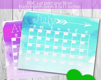 Instant Download Blank 12 Month Watercolor Calendar