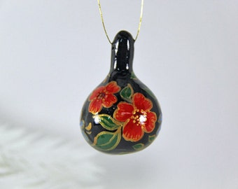 Hand Painted Folk Art Flowers,  Natural Gourd Ornament 73, Gilded Flowers, Small Painted Gourd, Holiday Gift, Christmas Tree Ornament