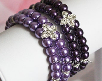 Purple or Lavender Double Strand Pearl Bracelet Purple Pearl Bracelet 2 Strand Bracelet Bridesmaids Jewelry