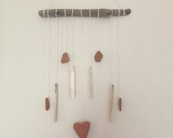 Driftwood  Wall Hanging/ Heart Mobile/ Beach Mobile/ Shell Wall Hanging/ Terracotta Mobile/ Beach Decor/ Ocean Decor/ Coastal Mobile