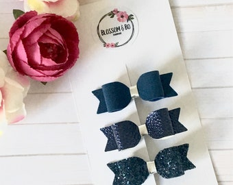 Navy blue hair bow set, glitter bow clips, girls hair bow set