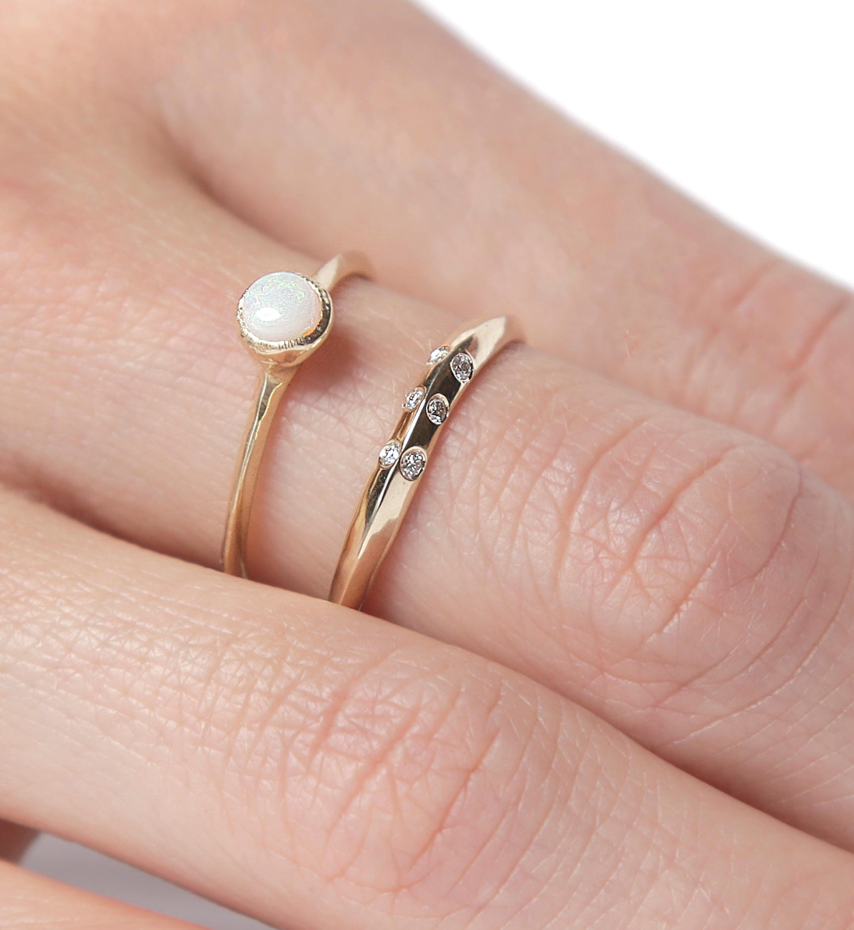 14k Opal and Shimmering Diamond Ring Set 14k Gold Ring Set