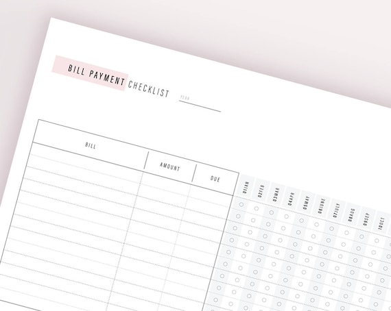 Bill Payment Tracker Finance Binder A Household Binder