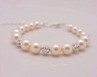 Ivory Pearl Bracelet, Pearl and Rhinestone Bracelet, Cream Pearl Bridal Bracelet, Bridesmaid Pearl Bracelet 0211