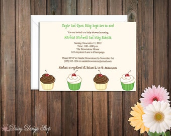 Baby Shower Invitation - Cupcakes and Polka Dots in Neutral Colors