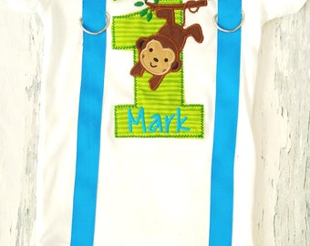Boy first birthday Monkey themed bow tie blue  Suspenders Bow tie Forest First Birthday Zoo Monkey Boy Cake Smash Outfit Boy 1st Birthday