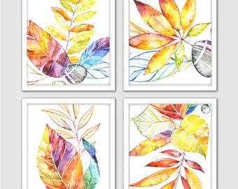 Autumn Leaves Print – 4 Prints Set of Watercolor Fall Leaves for Your Autumn Decor