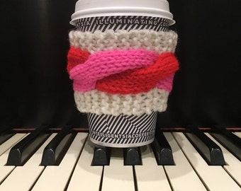 Valentine Cup Cozy Pink Red White Coffee Mug Sleeve with Knitted Cables