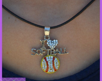 "Softball Gifts, Softball Team Gift - Girls Jewelry - I ""Heart"" Softball Necklace - Softball Mom - Softball Coaches Gift, Softball Team Gifts"