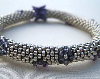 Bead Crochet Pattern:  Gemstone Rondell Bead Crochet Bangle Pattern