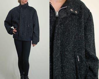 Vintage Jacket / Wool Jacket / Winter Jacket / 80s Jacket / Bomber Jacket / Vintage 80s Jacket / Black Jacket / Bomber Jacket / Medium Large