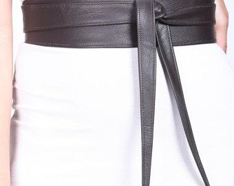 Dark Brown Womens Belt | Leather Obi Belt | Dark Brown corset wrap Belt | Leather belt | Waist Cincher Belt | Plus Sizes Available
