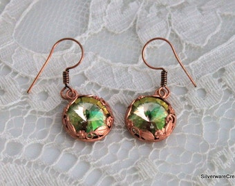 PERIDOT GREEN RIVOLI Earrings - Copper Ear Wires - Ready to Ship & Made in Usa - Month of August Birthday