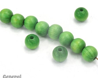 8mm Green Wood Bead #DXI003