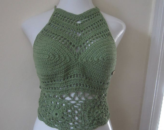 SAGE GREEN Festival  flower top, crochet halter top, music festival clothing, summer top, boho top, gypsy clothing, hippie, beach cover up,