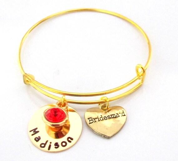 Personalized Bridesmaid Gold Bangle Bracelet,Bridesmaid Name Bracelet,t,Matron of Honor,Maid of Honor,Wedding Charm Bangle,Free Shipping USA