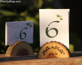 Personalized Card Holder Rustic Wedding Favor Custom Names /Initals /Date /Lettering Memory Picture Stand