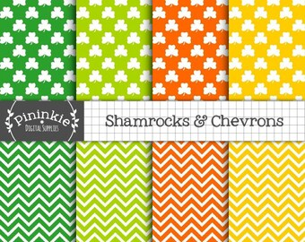 St Patricks Day Digital Paper, Shamrock and Chevrons Scrapbooking Paper, Instant Download, Green Digital Paper, Commercial Use,