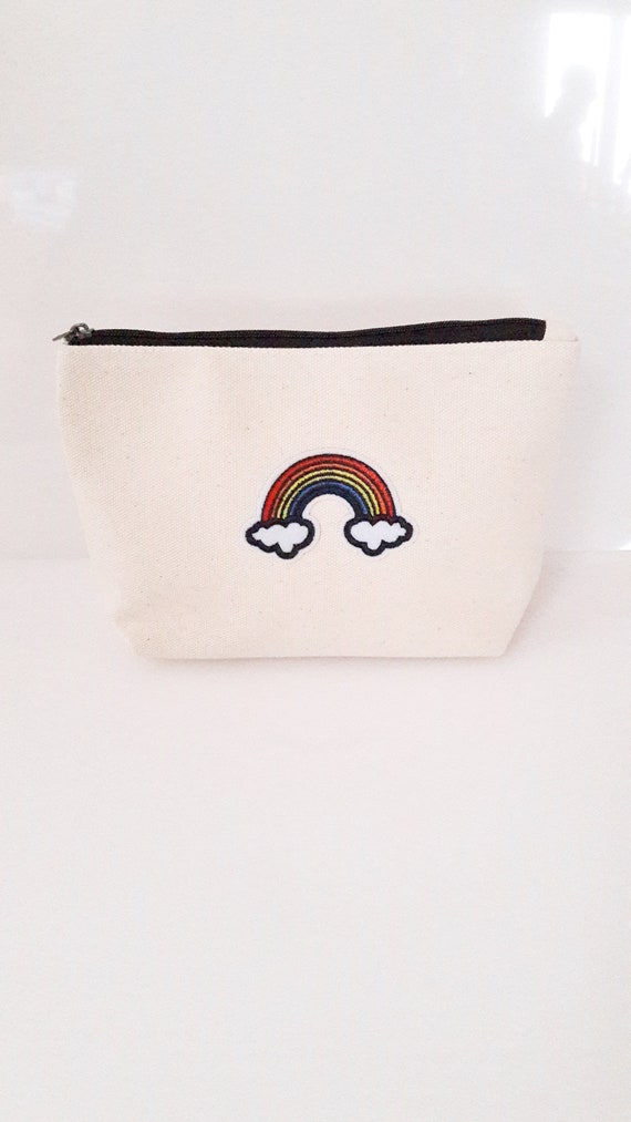 Rainbow cotton canvas zip pouch//Embroidery patch travel color rainbow bag//Cosmetic Jewelry Makeup Storage Travel Accessory Organizer Pouch