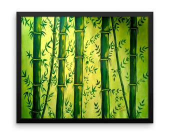 Bamboo Art Print, FRAMED Art Print, Matte Paper Poster, Bamboo Painting, Zen Art, Chinese Art, Oriental Painting, Lime Green Painting
