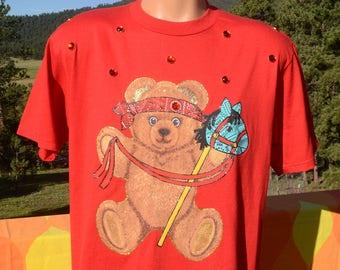 vintage 80s t-shirt TEDDY BEAR rambo rhinestone applique tee Large Medium wtf