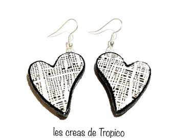 black and white heart earrings Valentine's day love love how worn frame polymer gift mothers day