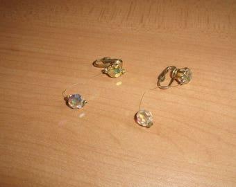 vintage clip on earrings goldtone string aurora borealis glass ball dangles