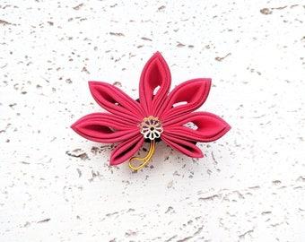 Fall Leaves Kanzashi Hair Clip, Japanese Kimono Accessories, Tsumami Kanzashi Flower, Japanese Traditional Kimono Hair Clip - Red