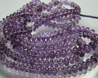 14 Inch Strand, Natural Purple Brazil AMETHYST Smooth Polished Rondelles 6.5-9mm